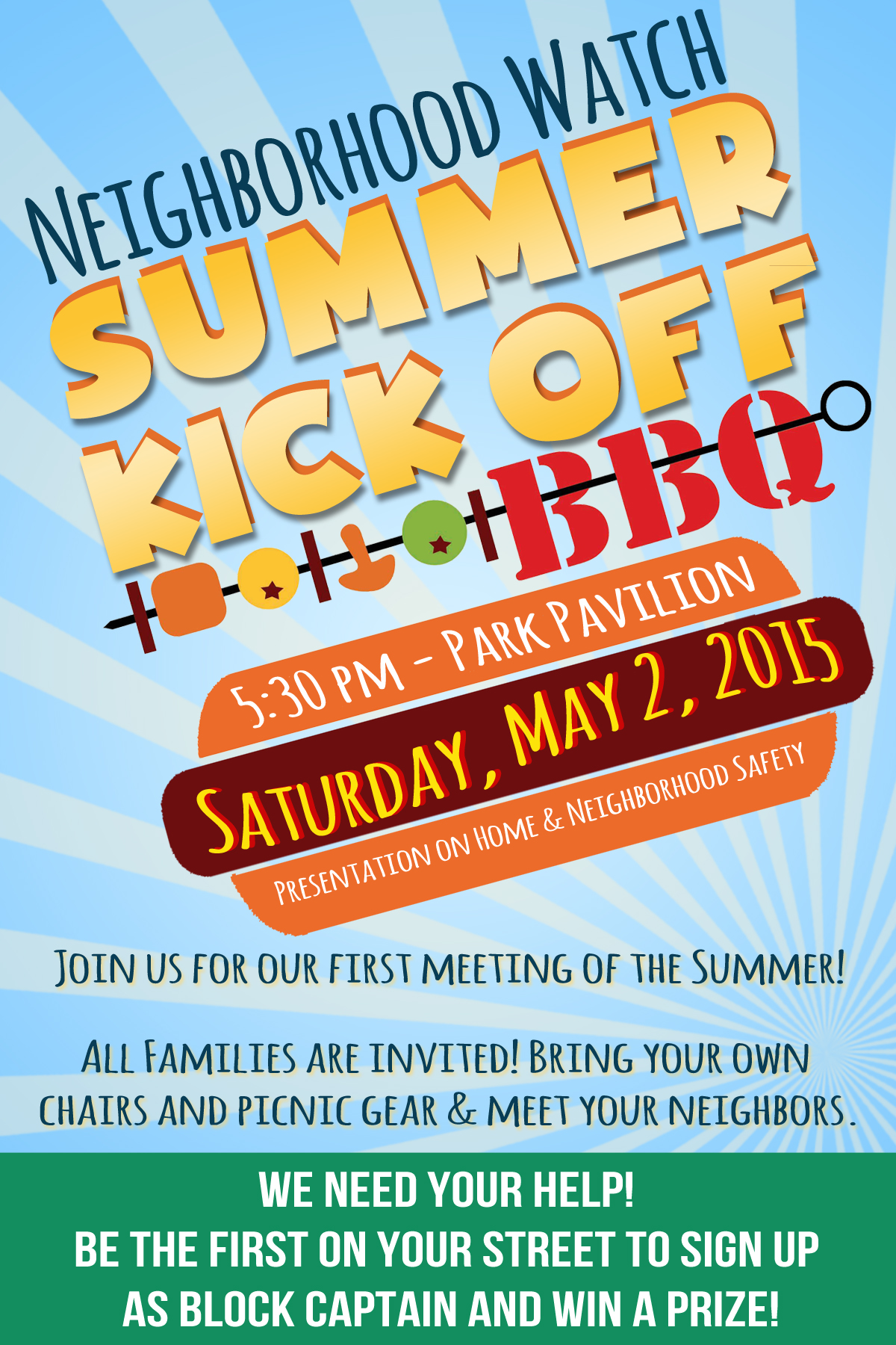 Reminder Neighborhood Watch Summer Kick Off Bbq