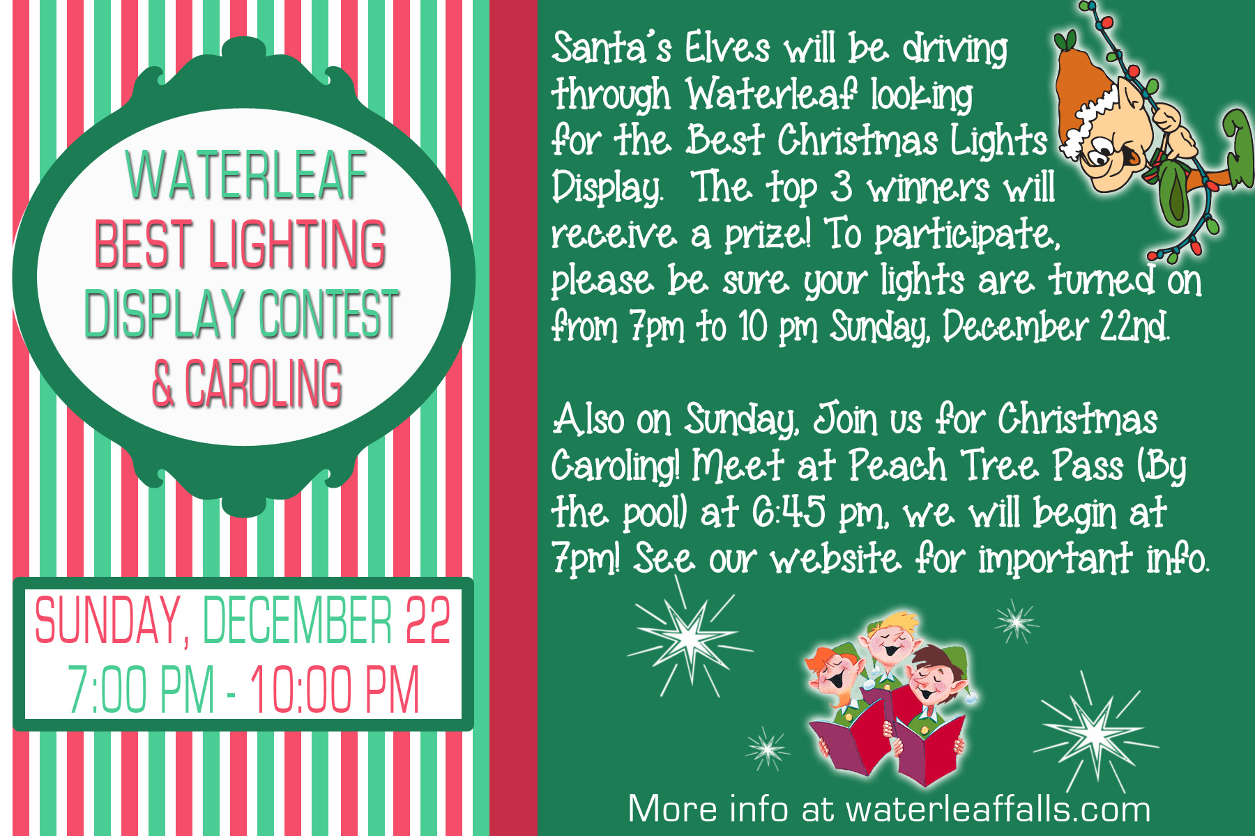 Christmas Contest Flyer.Best Lighting Contest And Christmas Caroling Waterleaf Falls