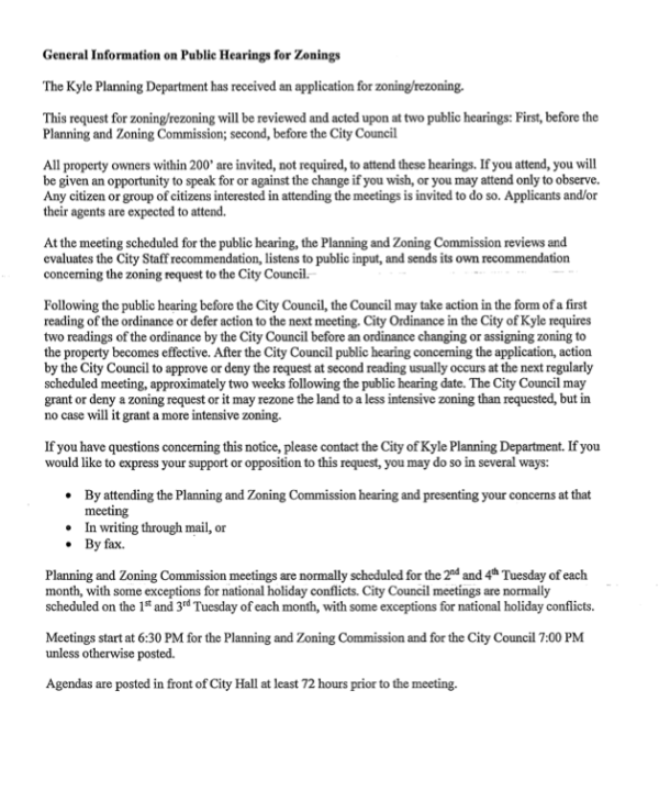 City of Kyle Zoning Letter Pg 2