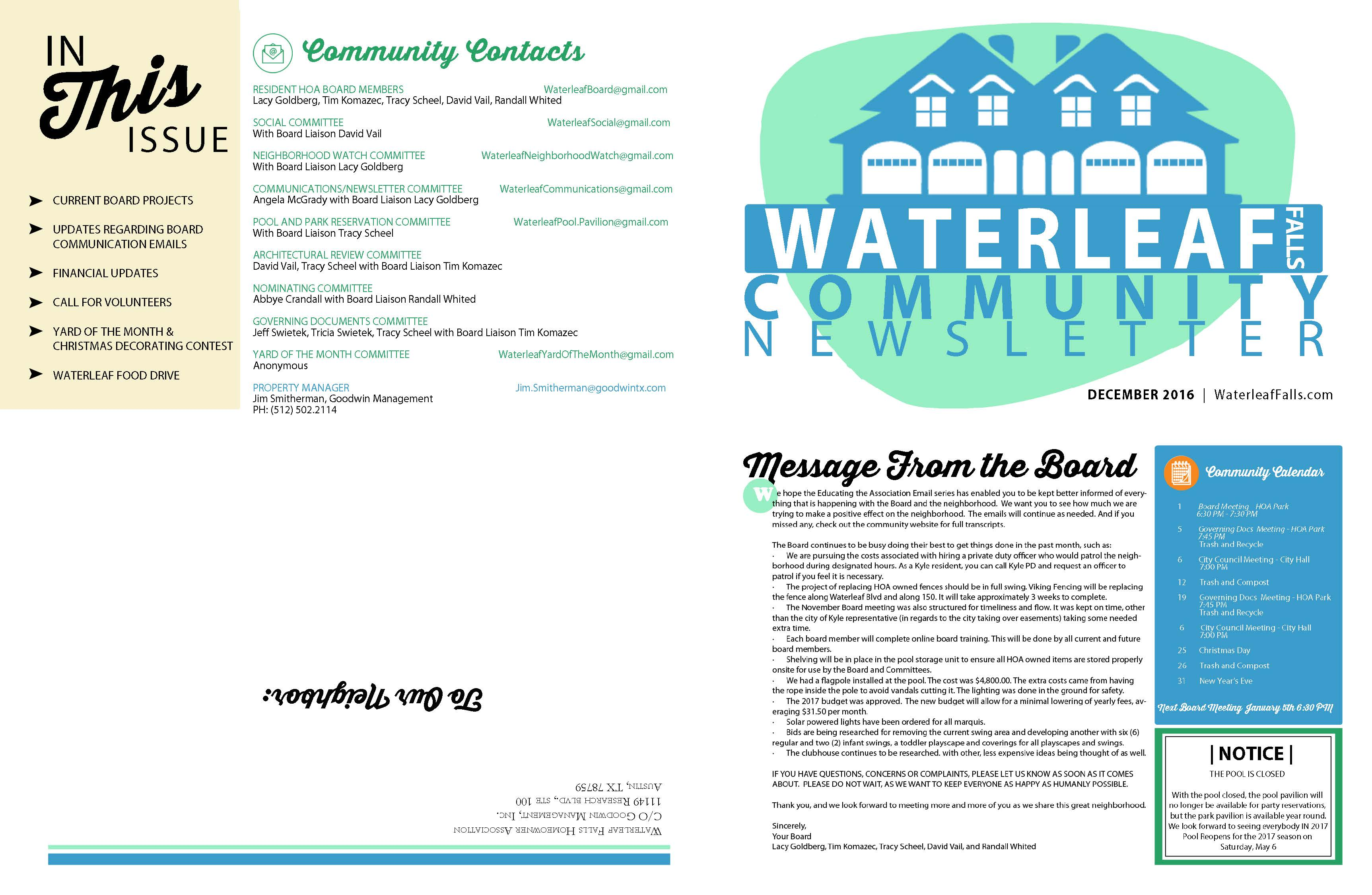 newsletter format update waterleaf falls