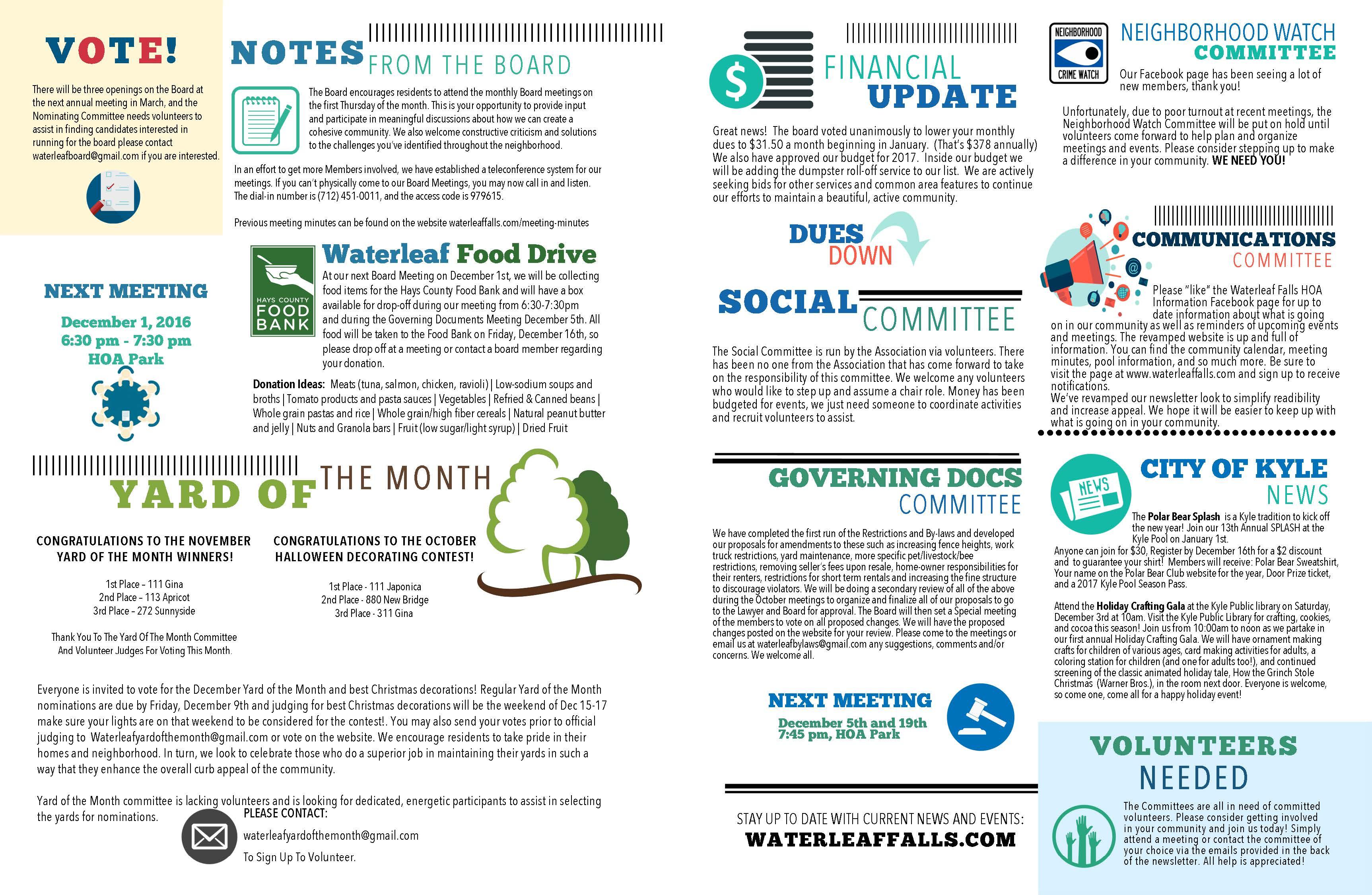 Newsletter Format Update!   Waterleaf Falls